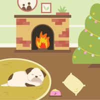 Dog Sleep Near Fireside Vector.