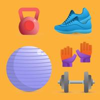 Realistic Fitness Equipamentos Vector Illustration