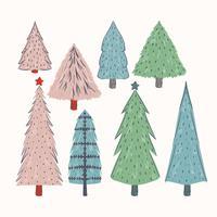 Arbres de Noël dessinés à la main de vecteur
