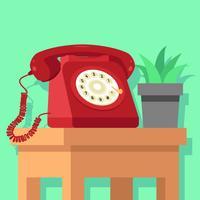 Roter Rotary-Telefon-Vektor