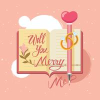 Hand Drawing Lettering Marry Me on Diary