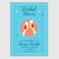 Bridal Shower Poster With Champagne Toast Vector