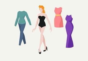 Vintage Paper Dolls Vector Illustration