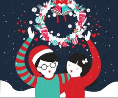 Couple Standing Under Mistletoe Vol 2 Vector