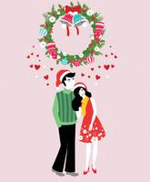 Couple-standing-under-mistletoe-vector