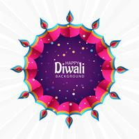 Beautiful diwali festival greeting card colorful decorative back