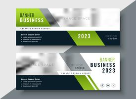 green geometric business banner with image space