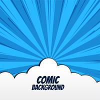 comic background with clouds and rays