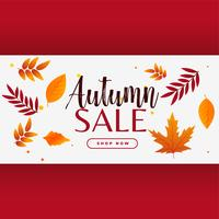 stylish autumn sale banner with leaves