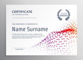 modelo de certificado abstrato com triângulo colorido