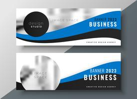 Blaue wellenförmige Business Banner Design