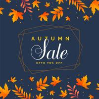 stylish autumn sale background with falling leaves