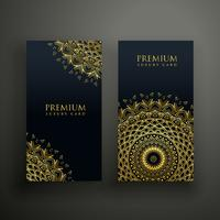 plantilla de diseño de tarjetas de mandala de lujo