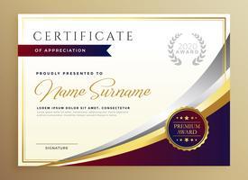 design elegante modelo de certificado no tema dourado
