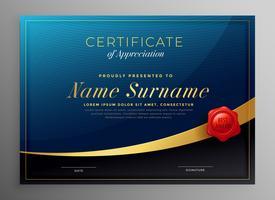 design de modelo de certificado escuro azul