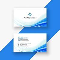 elegante cartão branco com onda azul
