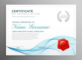 modèle de certificat d'appréciation bleu élégant