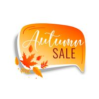 autumn sale chat bubble with orange leaves