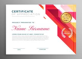 certificado criativo de apreciação em estilo abstrato