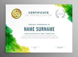 certificado verde abstrato de modelo de agradecimento