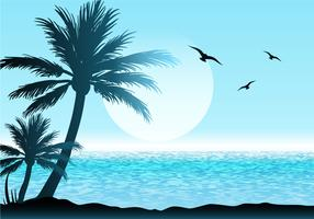 Beautiful Tropical Scene Illustration