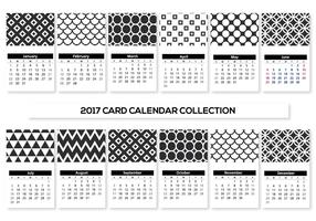 Black and White Mini 2017 Calendar Cards