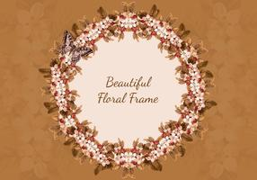 Brown Butterfly Floral Frame Background