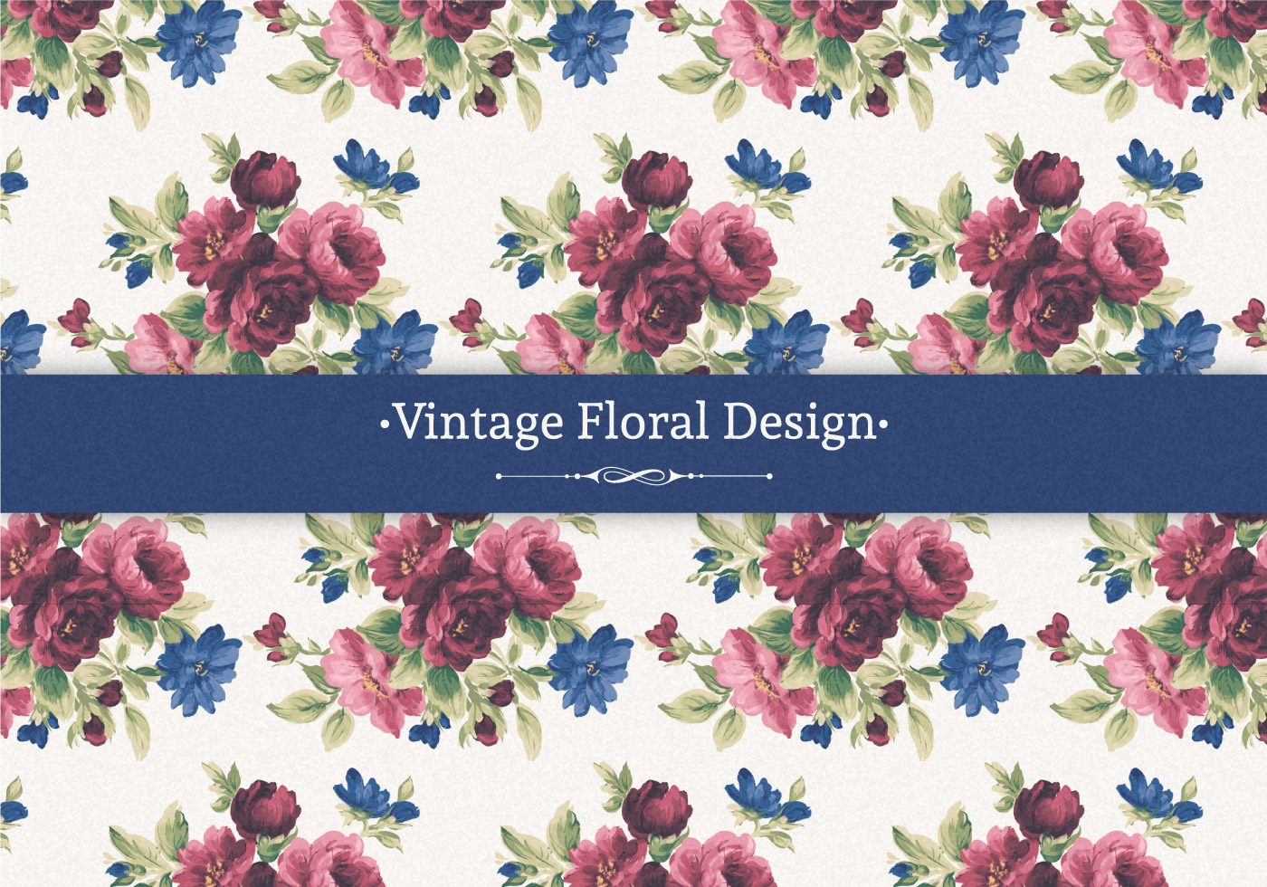 Red And Blue Vintage Floral Background Download Free Vectors