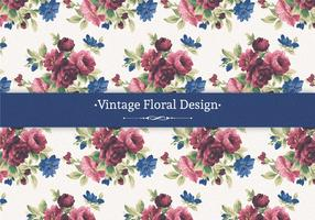 Red and Blue Vintage Floral Background