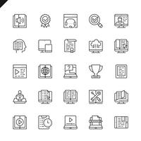 Thin line e-learning, online education elements icons set for website and mobile site and apps. Outline icons design. 48x48 Pixel Perfect. Linear pictogram pack. Vector illustration.