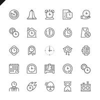 Thin line time icons set vector