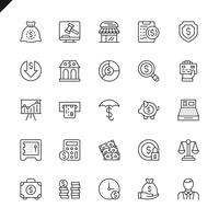 Thin line money, finance, paiement elements icons pour site web et site mobile et applications. Esquisser la conception des icônes. 48x48 Pixel Parfait. Pack de pictogrammes linéaires. Illustration vectorielle