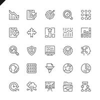 Thin line data analysis, statistics, analytics icons set