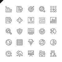 Analyse de données en ligne fine, statistiques, icônes d'analyse définies pour les sites Web, les sites mobiles et les applications. Esquisser la conception des icônes. 48x48 Pixel Parfait. Pack de pictogrammes linéaires. Illustration vectorielle