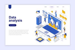 Isometric Data Analysis Web Banner vector