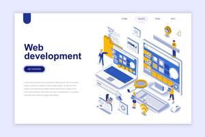 Web development modern flat design isometric concept. Developer and people concept. Landing page template. Conceptual isometric vector illustration for web and graphic design.