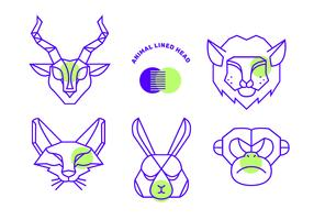 Geometric Simple Shape Animals Head Vector Line
