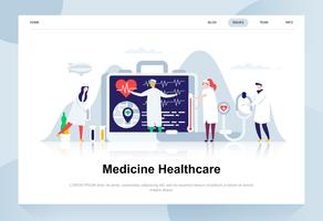 Geneeskunde en gezondheidszorg moderne platte ontwerpconcept. Apotheek en mensen concept. Bestemmingspaginasjabloon. Conceptuele platte vectorillustratie voor webpagina, website en mobiele website.