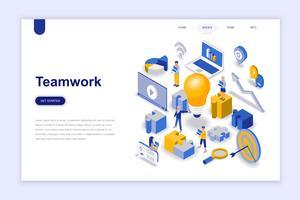 Teamwork modernt plandesign isometrisk koncept. Ledarskap och människokoncept. Målsida mall. Konceptuell isometrisk vektor illustration för webb och grafisk design.