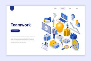 Teamwork modern flat design isometric concept. Leadership and people concept. Landing page template. Conceptual isometric vector illustration for web and graphic design.