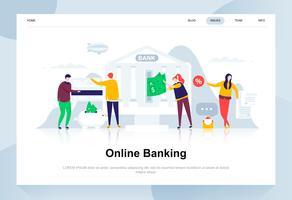 Online bankieren moderne platte ontwerpconcept. Elektronisch bank en mensenconcept. Bestemmingspaginasjabloon. Conceptuele platte vectorillustratie voor webpagina, website en mobiele website.