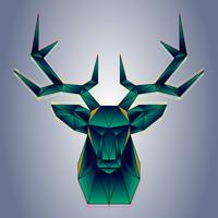 Stylized Polygonal Deer Head Vector Geometric Illustration
