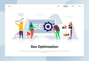 Seo analysis modern flat design concept. Search engine and people concept. Landing page template. Conceptual flat vector illustration for web page, website and mobile website.