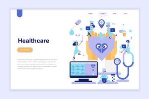 Sjabloon voor bestemmingspagina van geneeskunde en gezondheidszorg moderne platte ontwerpconcept. Leren en mensen concept. Conceptuele platte vectorillustratie voor webpagina, website en mobiele website.