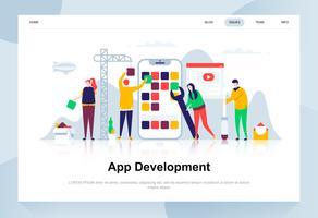 Modernes flaches Designkonzept der App-Entwicklung. Smartphone und Menschen Konzept. Zielseitenvorlage. Flache Begriffsvektorillustration für Webseite, Website und bewegliche Website.