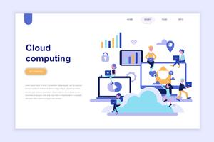 Landing page template of cloud computing modern flat design concept. Learning and people concept. Conceptual flat vector illustration for web page, website and mobile website.