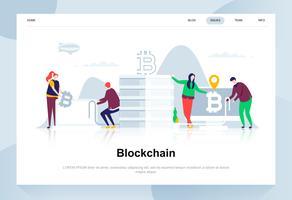 Blockchain moderne platte ontwerpconcept. Cryptocurrency en mensenconcept. Bestemmingspaginasjabloon. Conceptuele platte vectorillustratie voor webpagina, website en mobiele website.