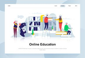 Online education modern flat design concept. Learning and people concept. Landing page template. Conceptual flat vector illustration for web page, website and mobile website.