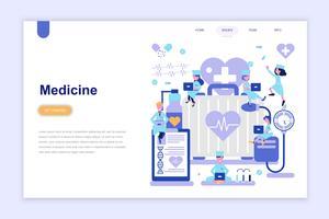 Plantilla de página de aterrizaje de la medicina y la salud moderno concepto de diseño plano. Aprendizaje y concepto de personas. Ilustración de vector plano conceptual para página web, sitio web y sitio web móvil.