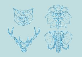 Geometric Polygonal Outline Animals Head vector
